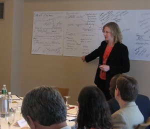 Heather Gerken leads a working group meeting in 2007.