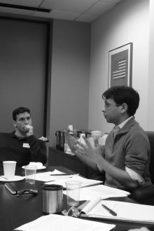 Sabeel Rahman presents his research at a Graduate Student Forum in 2010